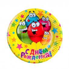 """Тарелки """"С днем рождения"""" веселые шарики, 6 шт., 18 см, бумага"""