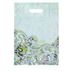 Пакет 'Зеленые завитки', полиэтиленовый с вырубной ручкой, 30 х 40 см, 45 мкм