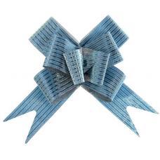 Бант-бабочка №3 'Блестящая полоска', цвет голубой