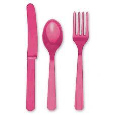 Столовые приборы пласт Bright Pink 24штA