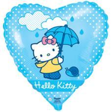 Hello-Kitty c зонтиком, сердце