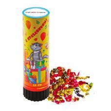 """Хлопушка поворотная СОЮЗМУЛЬТФИЛЬМ - Простоквашино """"С праздником!"""" конфетти, фольга, серпантин, 15 см"""