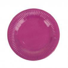Набор тарелок, 6 шт, 18 см, бумага, фуксия