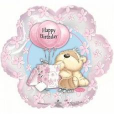 Шар (18''/46 см) Фигура, Цветок С Днем рождения (мишка с шариками), Розовый