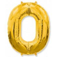 Шар (40''/102 см) Цифра, 0, Золотой