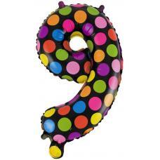 Шар с клапаном (16''/41 см) Цифра, 9 Супер Яркий